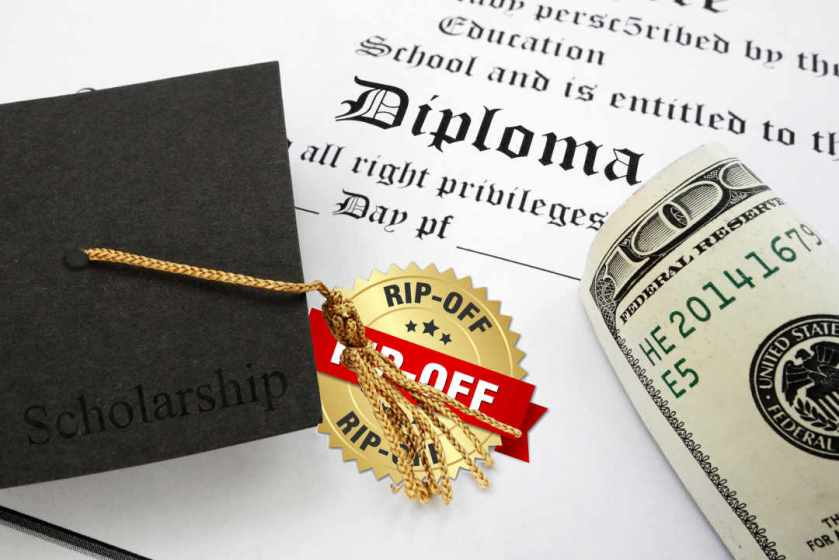 College diploma with rip-off seal
